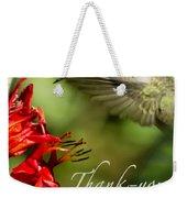 Hummingbird Thanks Weekender Tote Bag