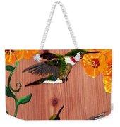 Hummingbirds On Cedar Weekender Tote Bag