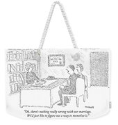 Husband And Wife Sitting At The Desk Weekender Tote Bag