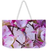 Hydrangea With Bright White Butterfly Weekender Tote Bag