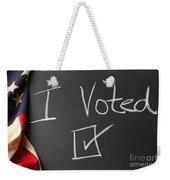 I Voted Sign On Chalkboard Weekender Tote Bag