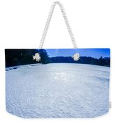 Ice And Snow Frozen Over Lake On Sunny Day Weekender Tote Bag