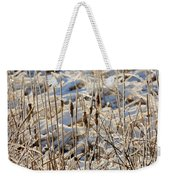 Ice Coated Bullrushes Weekender Tote Bag