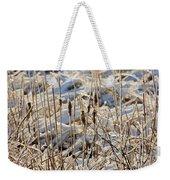 Ice Coated Bullrushes Weekender Tote Bag