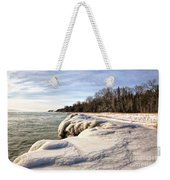 Ice Covered Shores Of Lake Michigan Weekender Tote Bag