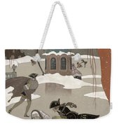 Ice Skating On The Frozen Lake Weekender Tote Bag by Georges Barbier