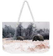 Ice Storm And Hay Bales In The Blue Rdige Mountains Weekender Tote Bag