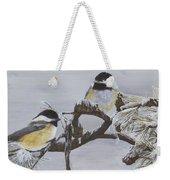 Ice Storm Chickadees Weekender Tote Bag by Johanna Lerwick
