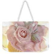 Iced Cup Cake With Sugared Pink Roses Weekender Tote Bag