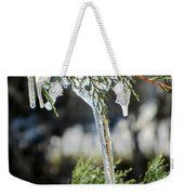 Icicles On Juniper Branch Weekender Tote Bag