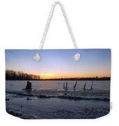 Icy Lake Sunset Weekender Tote Bag
