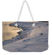 Icy Patterns On The Snow - A Lake Shore Morning Weekender Tote Bag