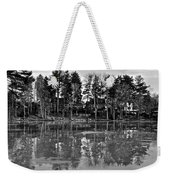 Icy Pond Reflects Weekender Tote Bag by Frozen in Time Fine Art Photography