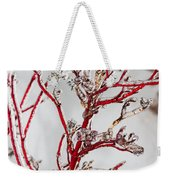 Icy Red Dogwood Weekender Tote Bag