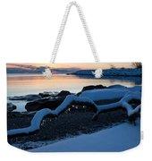 Icy Snowy Winter Sunrise On The Lake Weekender Tote Bag