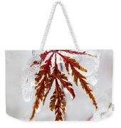 Icy Winter Leaf Weekender Tote Bag
