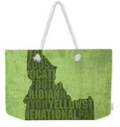 Idaho State Word Art Map On Canvas Weekender Tote Bag