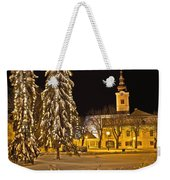 Idylic Winter Cityscape Evening In Snow Weekender Tote Bag