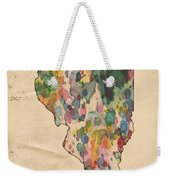 Illinois Map Vintage Watercolor Weekender Tote Bag