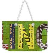 Illinois State Name License Plate Art Weekender Tote Bag