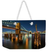 Illuminated Brooklyn Bridge By Night Weekender Tote Bag