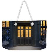 Illuminated Doorway To A Timber Framed Tudor House Or Mansion At Weekender Tote Bag