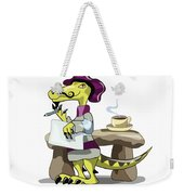 Illustration Of A Raptor Poet Thinking Weekender Tote Bag