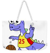 Illustration Of A Stegosaurus Playing Weekender Tote Bag