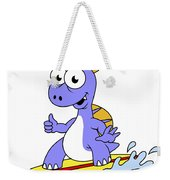 Illustration Of A Surfing Spinosaurus Weekender Tote Bag