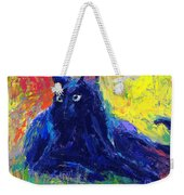 Impasto Black Cat Painting Weekender Tote Bag