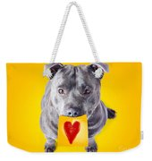Imploring Staffie With A Sticky Note On His Mouth Weekender Tote Bag