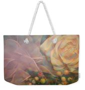 Impressionistic Pink Rose With Ribbon Weekender Tote Bag