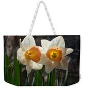 In Conversation - A Couple Of Daffodils Huddled Together Weekender Tote Bag