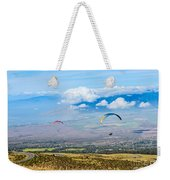 In Flight - Paragliders Taking Off High Over Maui. Weekender Tote Bag
