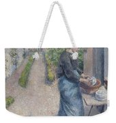 In The Garden At Pontoise A Young Woman Weekender Tote Bag