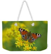 Inachis Io Butterfly On The Yellow Flowers Weekender Tote Bag