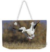 Incoming Snow Goose Weekender Tote Bag