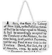 Indented Banknote, 1709 Weekender Tote Bag