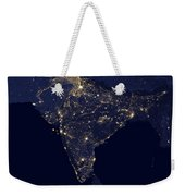 India At Night Satellite Image Weekender Tote Bag