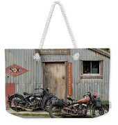 Indian Chout And Chief Bobber At The Old Okains Bay Garage Weekender Tote Bag