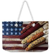 Indian Corn On American Flag Weekender Tote Bag by Garry Gay