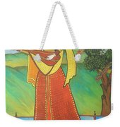 Indian Lady Playing Ancient Musical Instrument Weekender Tote Bag
