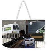 Indian Man Enjoying In A Bumper Cars Ride In An Entertainment Park Weekender Tote Bag