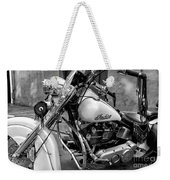 Indian Motorcycle In French Quarter-bw Weekender Tote Bag