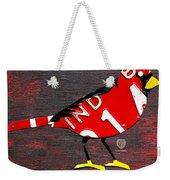 Indiana Cardinal Bird Recycled Vintage License Plate Art Weekender Tote Bag