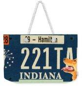 Indiana License Plate Weekender Tote Bag
