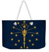 Indiana State Flag Art On Worn Canvas Weekender Tote Bag