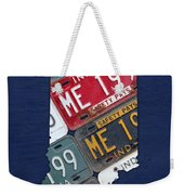Indiana State License Plate Map Weekender Tote Bag by Design Turnpike