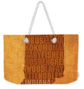 Indiana State Word Art On Canvas Weekender Tote Bag by Design Turnpike