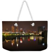 Indianapolis Skyline At Night Indy Downtown Color Panorama Weekender Tote Bag